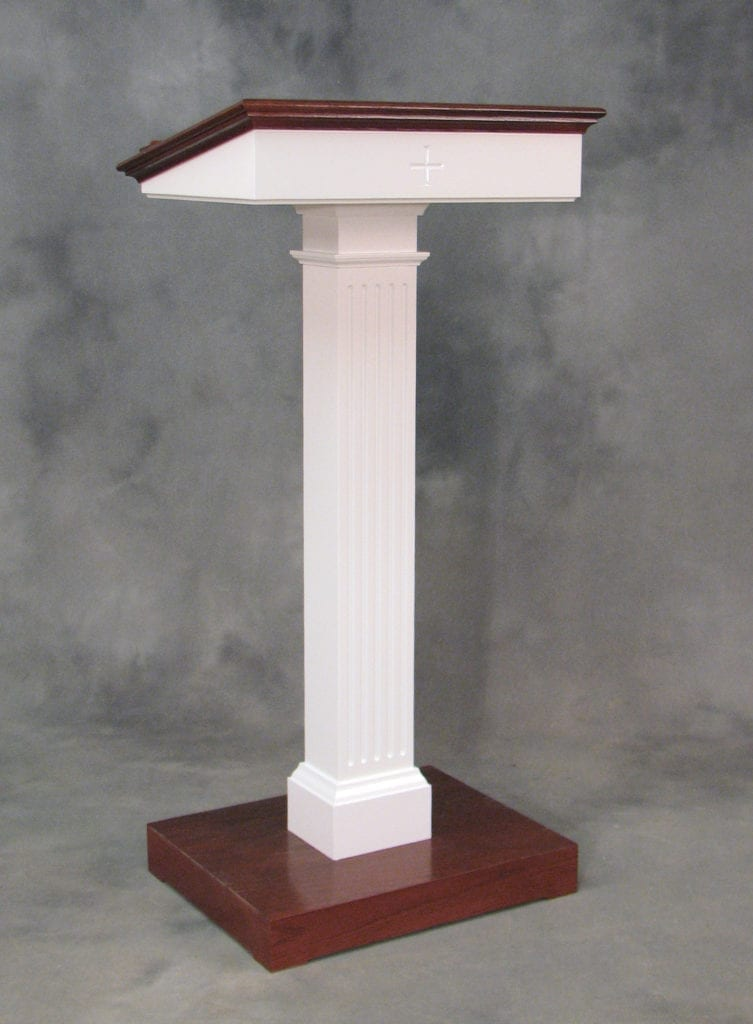 white and cherry wood modern style lectern