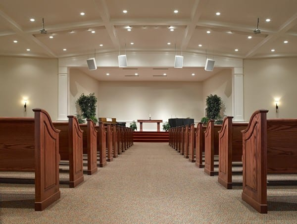 Curved Pews Center Aisle