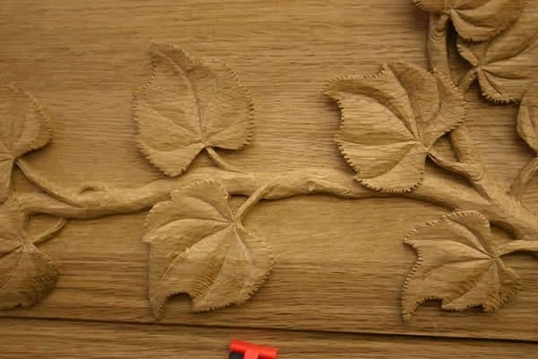 Leaf and Vine Hand Carving Close up