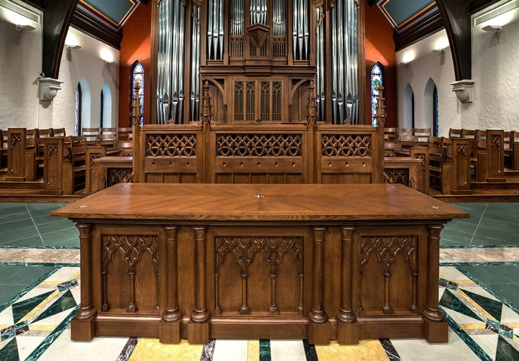communion table against organ case