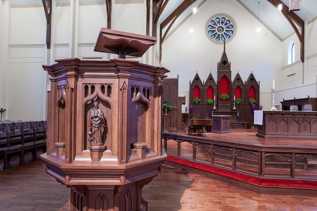 closeup of pulpit