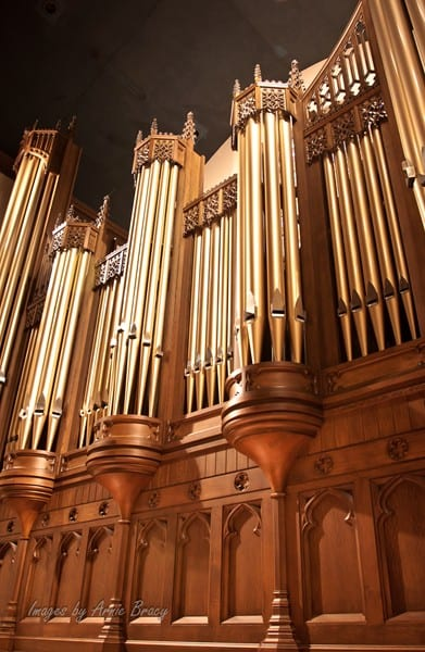 organ base, pipes, and casework
