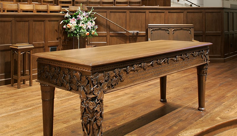 communion table with intricate carvings