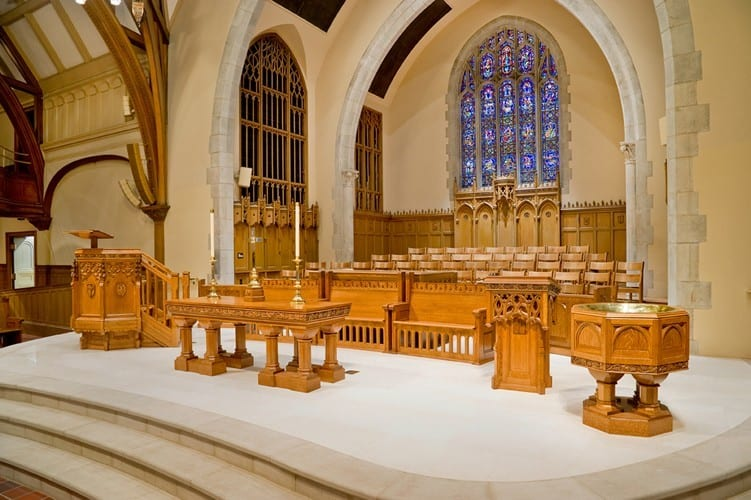 Mix of refurbished and new chancel furniture at Third Presbyterian Church, Rochester, NY